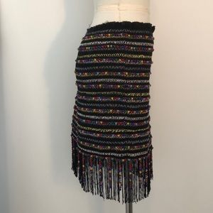 MAJORELLE Skirts - Colorful Mini Skirt with Beads, Fringe, Embroidery